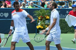 Nenad Zimonjić and Julien Benneteau celebrate a point during their win over Mardy Fish and Radek Stepanek in the Washington final. Photo by Mariya Konovalova.