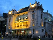 national theater at dusk