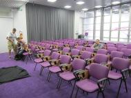 purple decor courtesy of sponsor Kombank