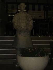 terracotta warrior guards Novak's restaurant