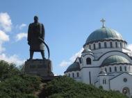 foreground: Karadjordje statue; background: St. Sava