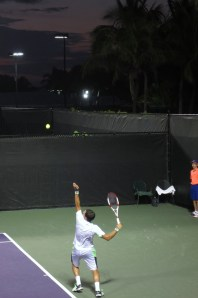 Lajović serves during his win over Lu.