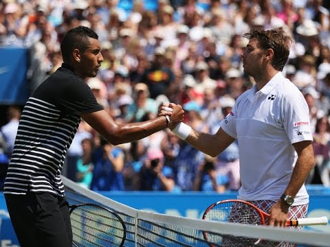Simpler times: Kyrgios & Wawrinka shake hands at the Queens Club.